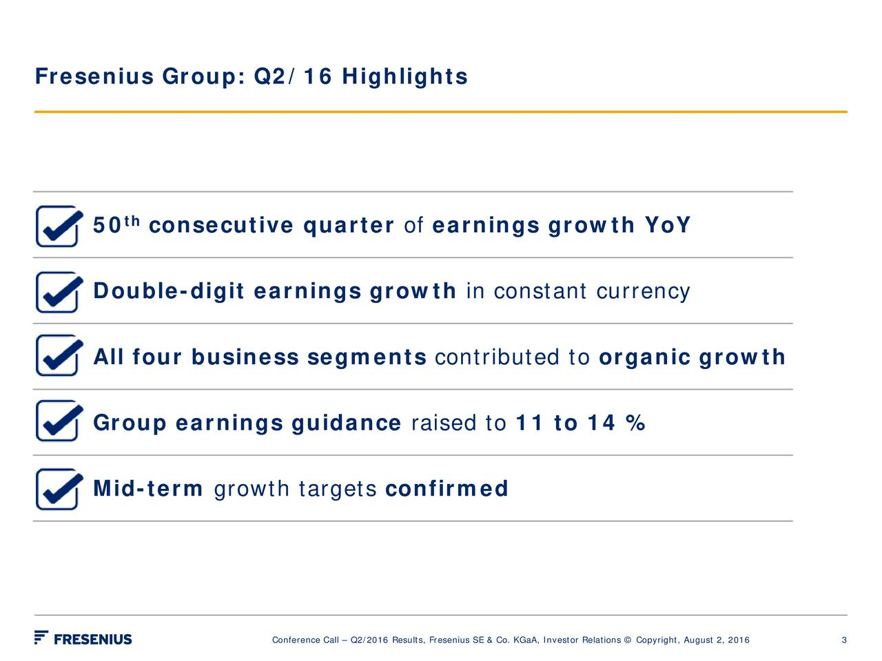 th 50 consecutive quarter of earnings growth YoY Double-digit earnings growth in constant currency All four business segments contributed to organic growth Group earnings guidance raised to 11 to 14 % Mid-term growth targets confirmed Conference Call  Q2/2016 Results, Fresenius SE & Co. 3GaA, Investor Relations  Copyright, August 2, 2016