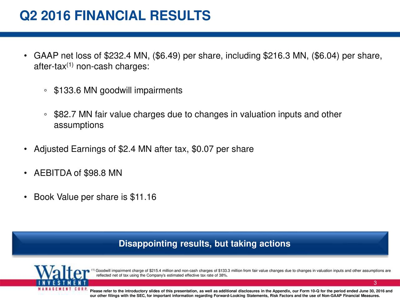 GAAP net loss of $232.4 MN, ($6.49) per share, including $216.3 MN, ($6.04) per share, after-tax (1)non-cash charges: $133.6 MN goodwill impairments $82.7 MN fair value charges due to changes in valuation inputs and other assumptions Adjusted Earnings of $2.4 MN after tax, $0.07 per share AEBITDA of $98.8 MN Book Value per share is $11.16 Disappointing results, but taking actions 1Greflected net of tax using the Company's estimated effective tax rate of 38%.llion from fair value changes due to changes in valuation inputs and other assumptions are 3 Please refer to the introductory slides of this presentation, as well as additional disclosures in the Appendix, our Form 10-Q for the period ended June 30, 2016 and