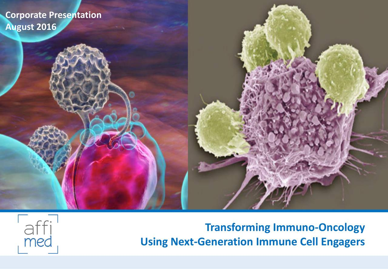 August 2016 Transforming Immuno-Oncology Using Next-Generation Immune Cell Engagers