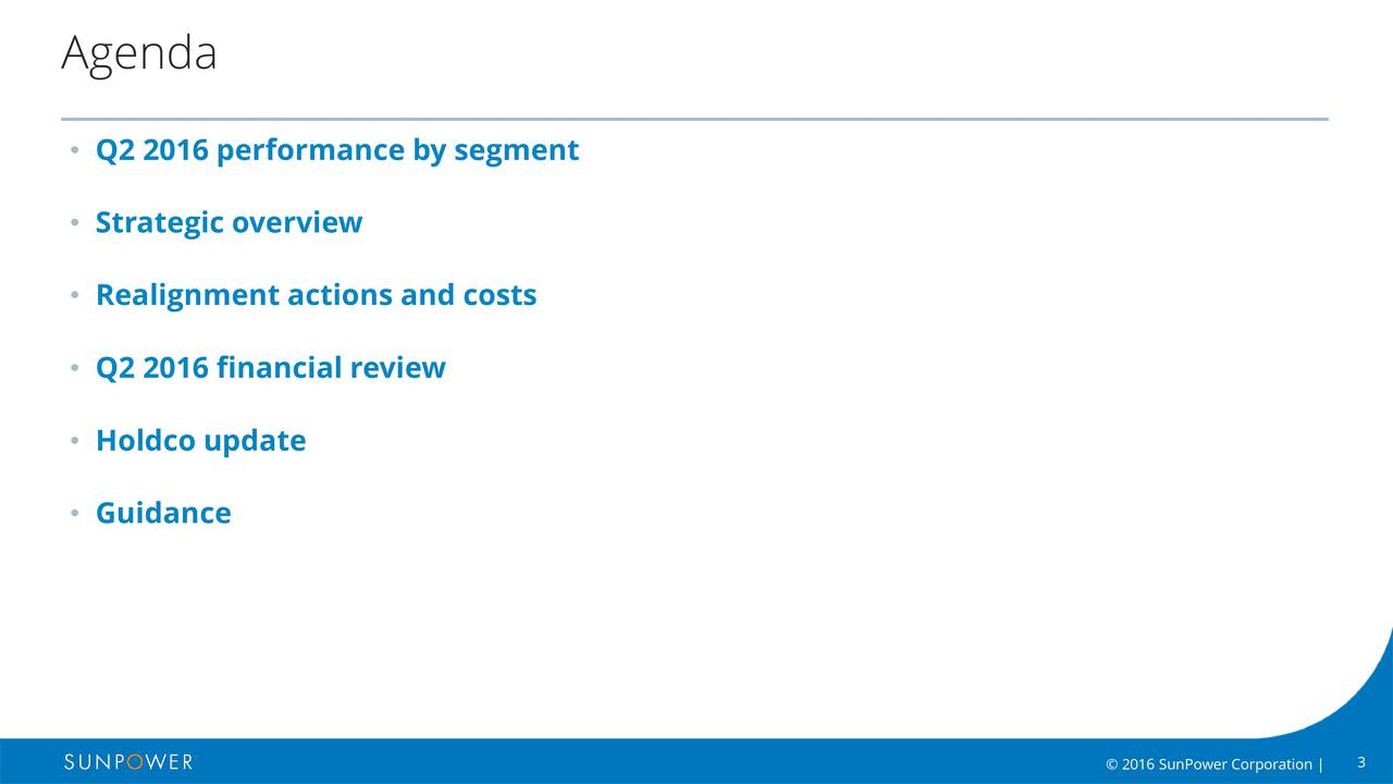 Q2 2016 performance by segment Strategic overview Realignment actions and costs Q2 2016 financial review Holdco update Guidance 2016 SunPower Corporation |