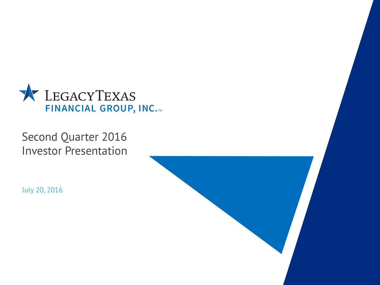 Investor Presentation July 20,2016