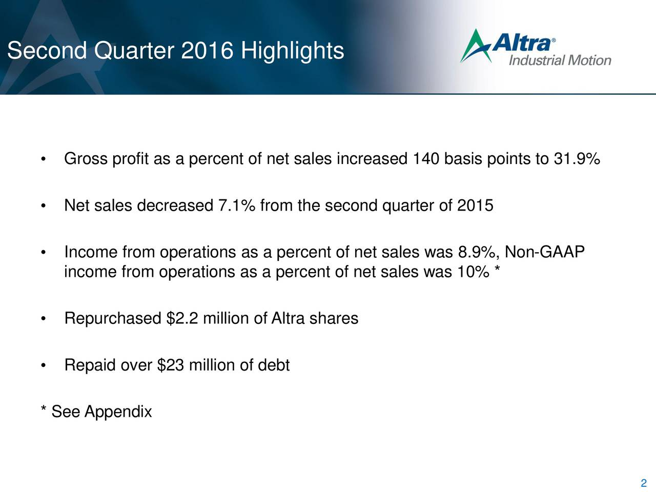Gross profit as a percent of net sales increased 140 basis points to 31.9% Net sales decreased 7.1% from the second quarter of 2015 Income from operations as a percent of net sales was 8.9%, Non-GAAP income from operations as a percent of net sales was 10% * Repurchased $2.2 million of Altra shares Repaid over $23 million of debt * See Appendix