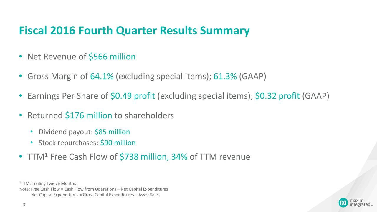 Net Revenue of $566 million Gross Margin of 64.1% (excluding special items); 61.3% (GAAP) Earnings Per Share of $0.49 profit (excluding special items); $0.32 profit (GAAP) Returned $176 million to shareholders Dividend payout: $85 million Stock repurchases: $90 million 1 TTM Free Cash Flow of $738 million, 34% of TTM revenue 1TTM: Trailing Twelve Months Note: Free Cash Flow = Cash Flow from Operations  Net Capital Expenditures Net Capital Expenditures = Gross Capital Expenditures  Asset Sales 3