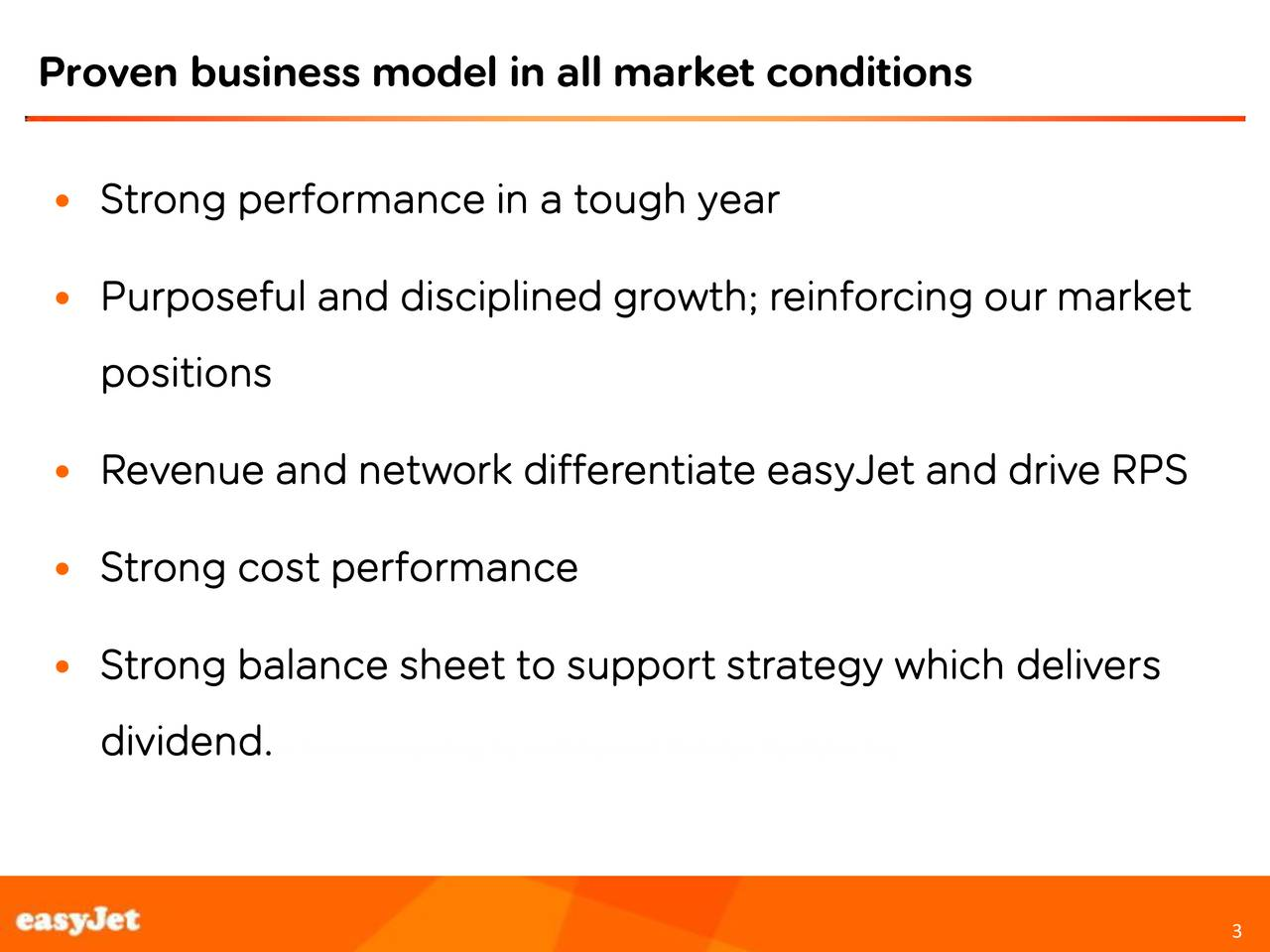 Strong performance in a tough year Purposeful and disciplined growth; reinforcing our market positions Revenue and network differentiate easyJet and drive RPS Strong cost performance Strong balance sheet to support strategy which delivers dividend.Footer box on intersect of lines line h=8.03 9 and v=8.75 with font 10pt Arial not bold 3