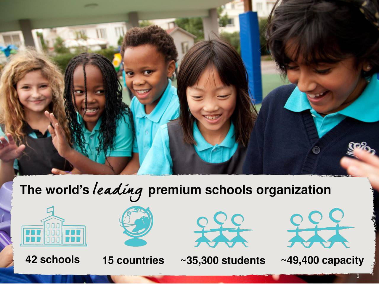 42 schools 15 countries ~35,300 students ~49,400 capacity 3