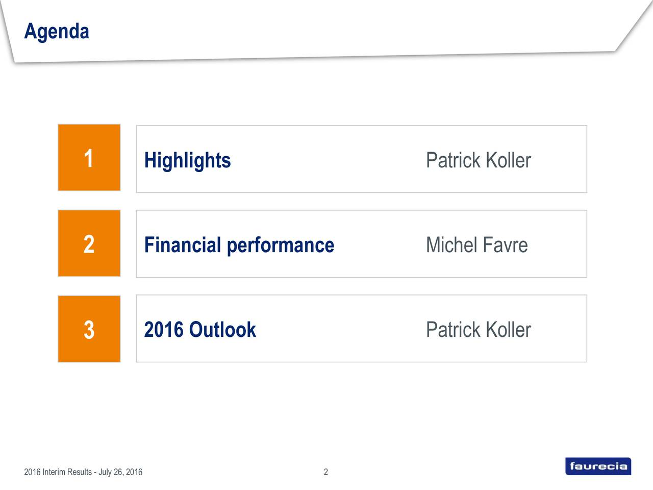1 Highlights Patrick Koller 2 Financial performance Michel Favre 2016 Outlook Patrick Koller 3 2016 Interim Results - July 26, 20162