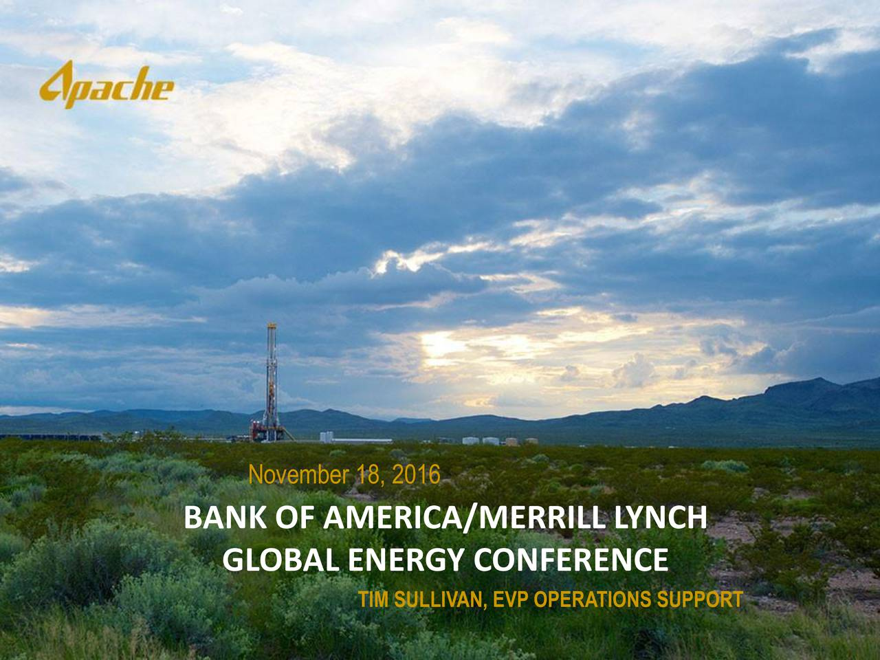 BANK OF AMERICA/MERRILL LYNCH GLOBAL ENERGY CONFERENCE TIM SULLIVAN, EVP OPERATIONS SUPPORT