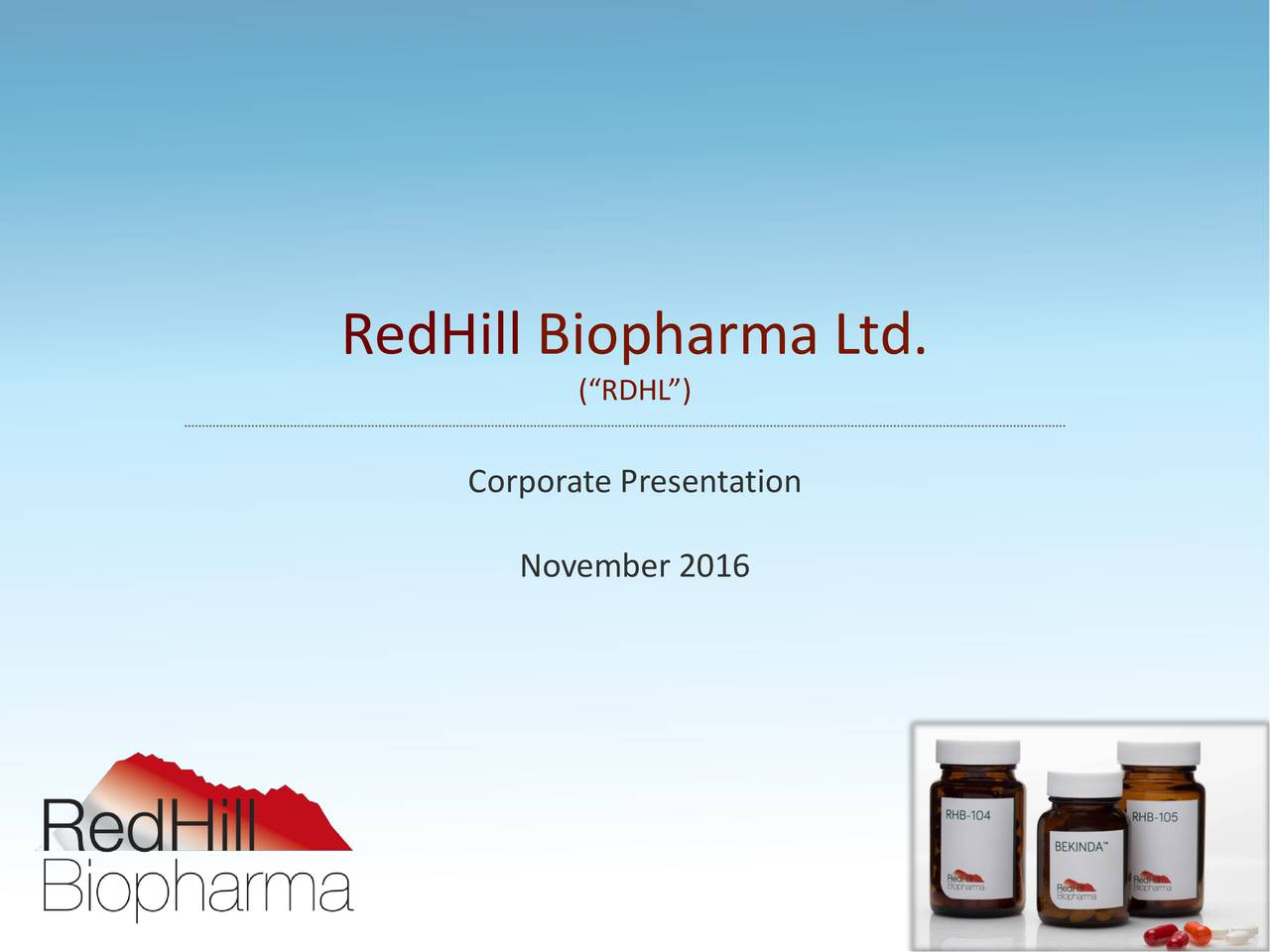 (RDHL) Corporate Presentation November 2016