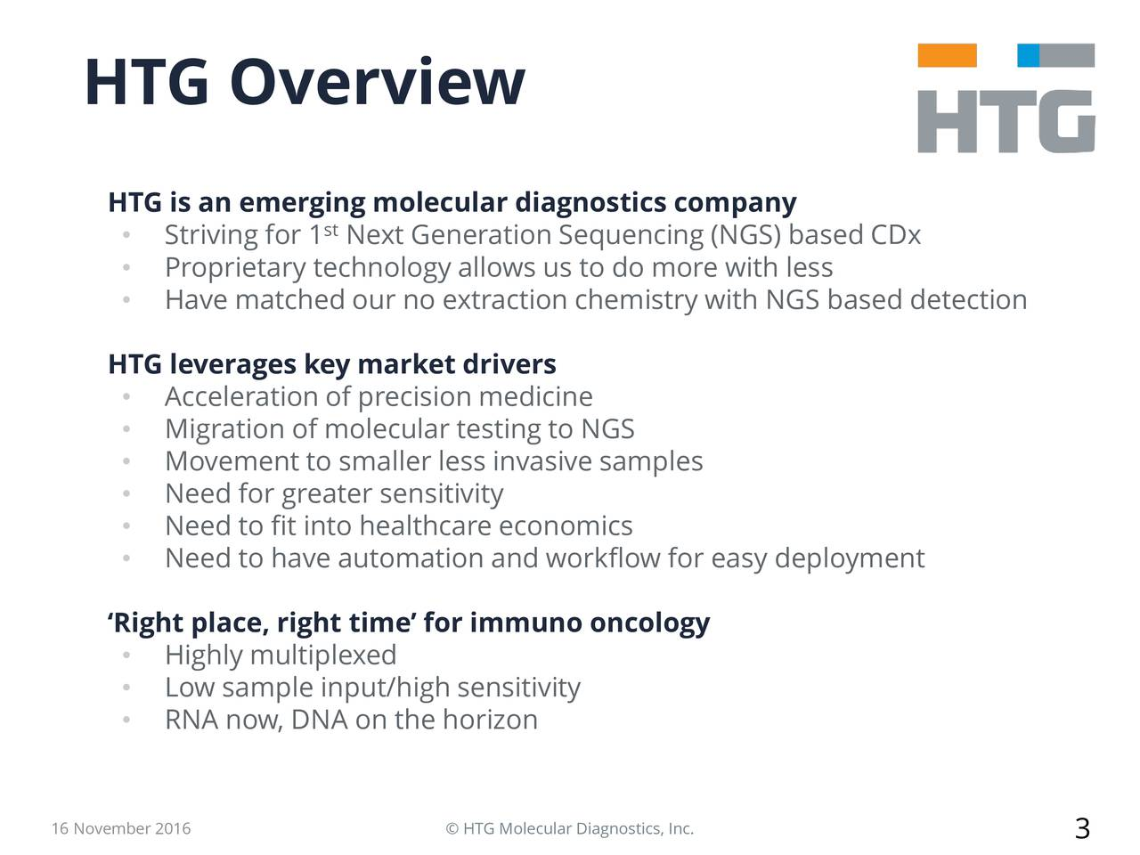 HTG is an emerging molecular diagnostics company Striving for 1 Next Generation Sequencing (NGS) based CDx Proprietary technology allows us to do more with less Have matched our no extraction chemistry with NGS based detection HTG leverages key market drivers Acceleration of precision medicine Migration of molecular testing to NGS Movement to smaller less invasive samples Need for greater sensitivity Need to fit into healthcare economics Need to have automation and workflow for easy deployment Right place, right time for immuno oncology Highly multiplexed Low sample input/high sensitivity RNA now, DNA on the horizon 16 November 2016  HTG Molecular Diagnostics, Inc. 3