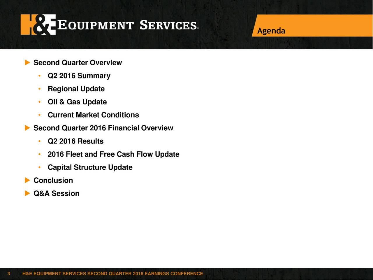 Second Quarter Overview Q2 2016 Summary Regional Update Oil & Gas Update Current Market Conditions Second Quarter 2016 Financial Overview Q2 2016 Results 2016 Fleet and Free Cash Flow Update Capital Structure Update Conclusion Q&A Session 3 H&E EQUIPMENT SERVICES SECOND QUARTER 2016 EARNINGS CONFERENCE