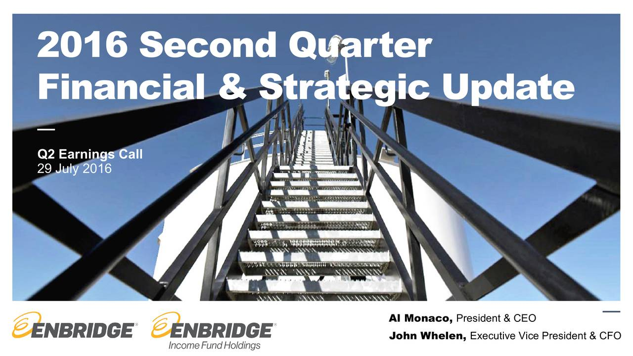 Financial &Strategic Update Q2 Earnings Call 29 July 2016 Al Monaco, President & CEO John Whelen, Executive Vice President & CFO