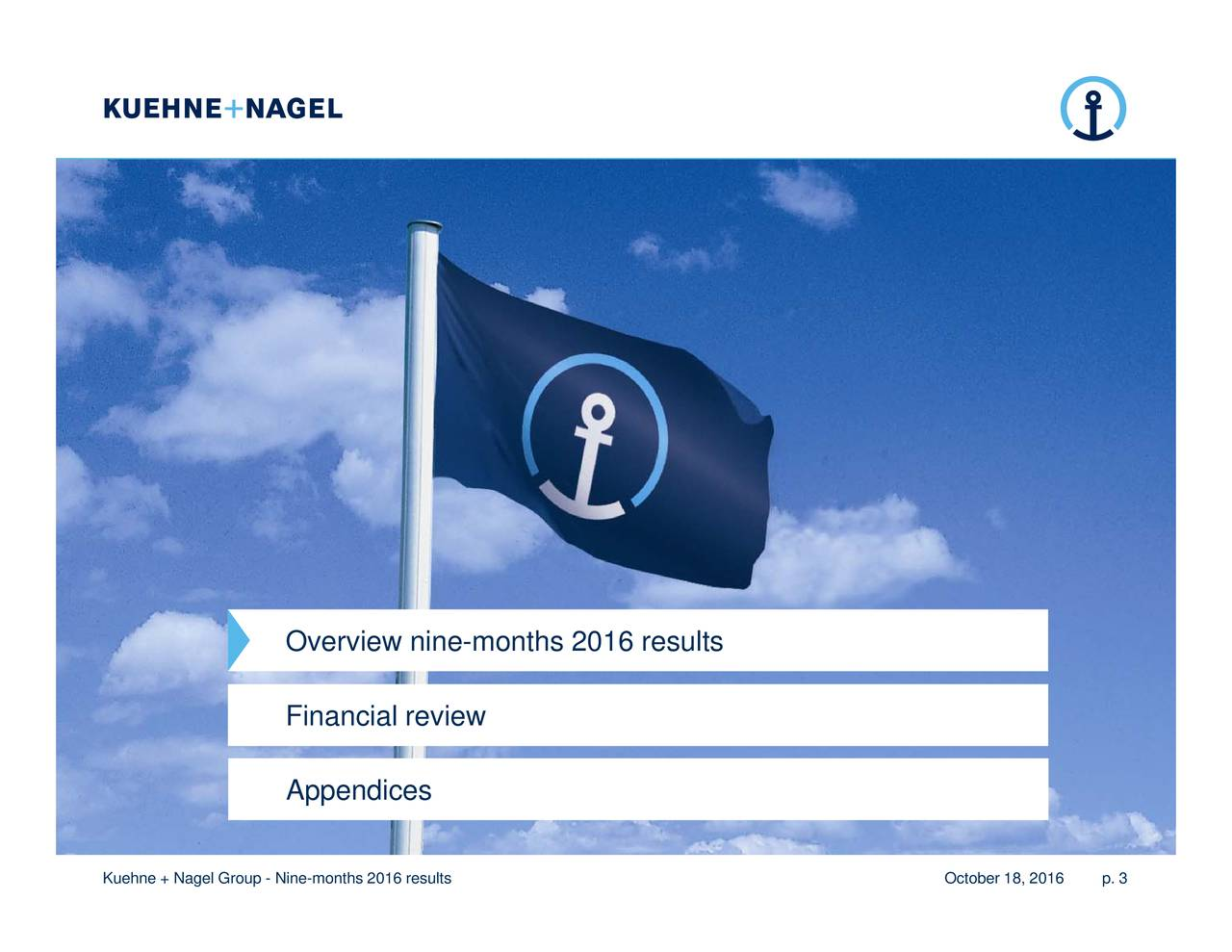 October 18, 2016 Overview nine-months 2016 results Kuehne + Nagel Group - Nine-months 2016 results