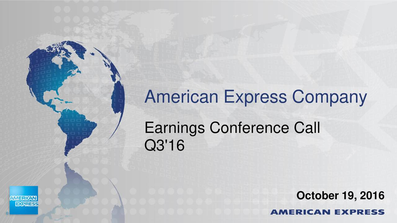 Earnings Conference Call Q3'16 October 19, 2016