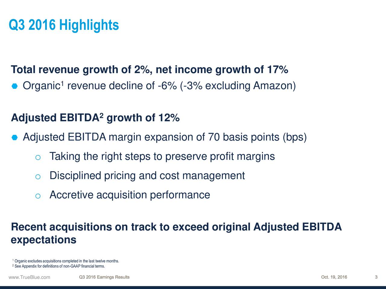 Total revenue growth of 2%, net income growth of 17% Organic revenue decline of -6% (-3% excluding Amazon) Adjusted EBITDA growth of 12% Adjusted EBITDA margin expansion of 70 basis points (bps) o Taking the right steps to preserve profit margins o Disciplined pricing and cost management o Accretive acquisition performance Recent acquisitions on track to exceed original Adjusted EBITDA expectations See Appendixfor definitions of non-GAAP financialterms.e months. www.TrueBlue.com