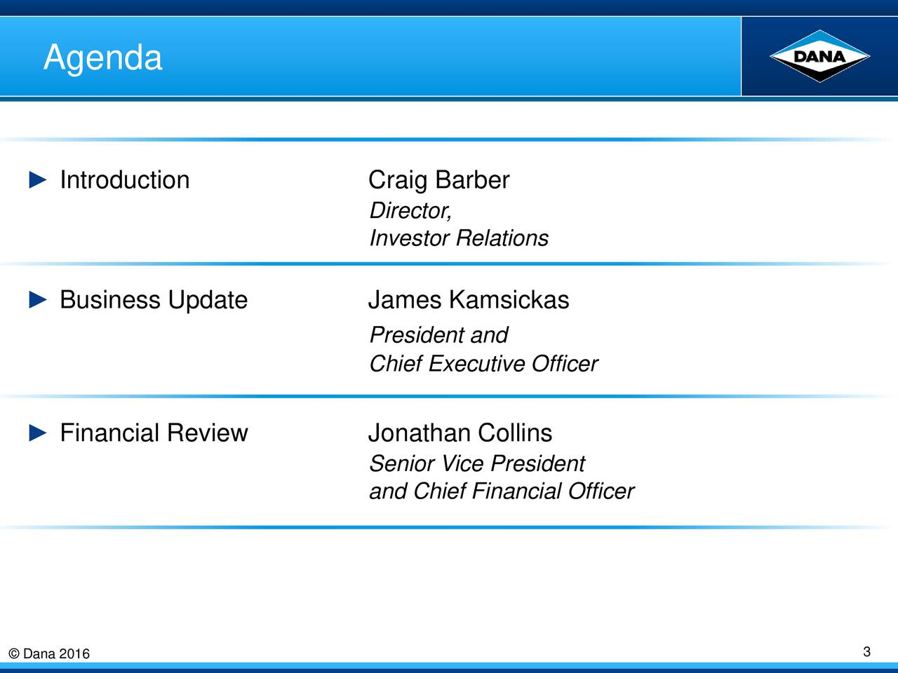 Introduction Craig Barber Director, Investor Relations Business Update James Kamsickas President and Chief Executive Officer Financial Review Jonathan Collins Senior Vice President and Chief Financial Officer Dana 2016 3