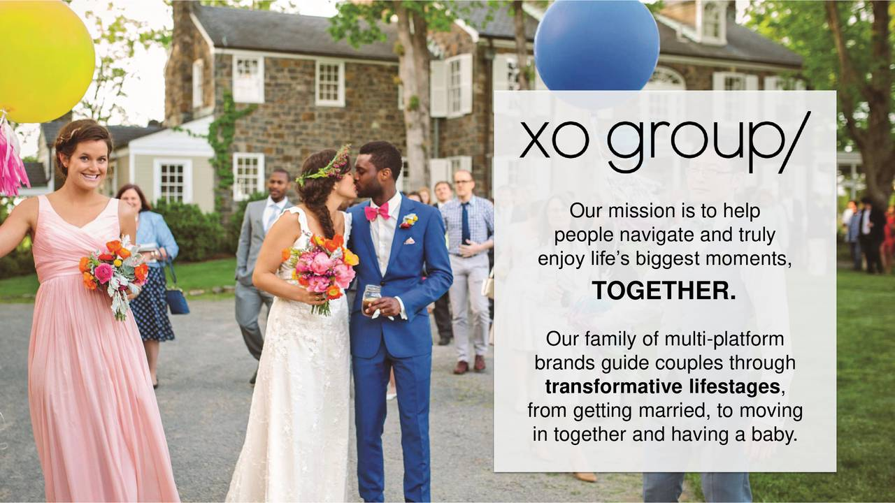 people navigate and truly enjoy lifes biggest moments, TOGETHER. Our family of multi-platform brands guide couples through transformative lifestages, from getting married, to moving in together and having a baby. 2016 XO GROUP INC. ALL RIGHTS RESERVED.