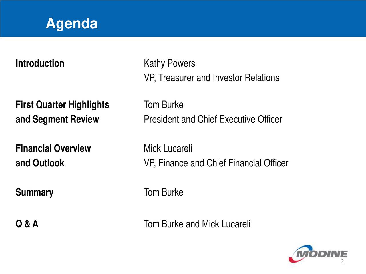 Introduction Kathy Powers VP, Treasurer andInvestor Relations First Quarter Highlights Tom Burke and Segment Review President and Chief Executive Officer Financial Overview Mick Lucareli and Outlook VP, Finance and Chief Financial Officer Summary TomBurke Q &A Tom Burke and Mick Lucareli 2