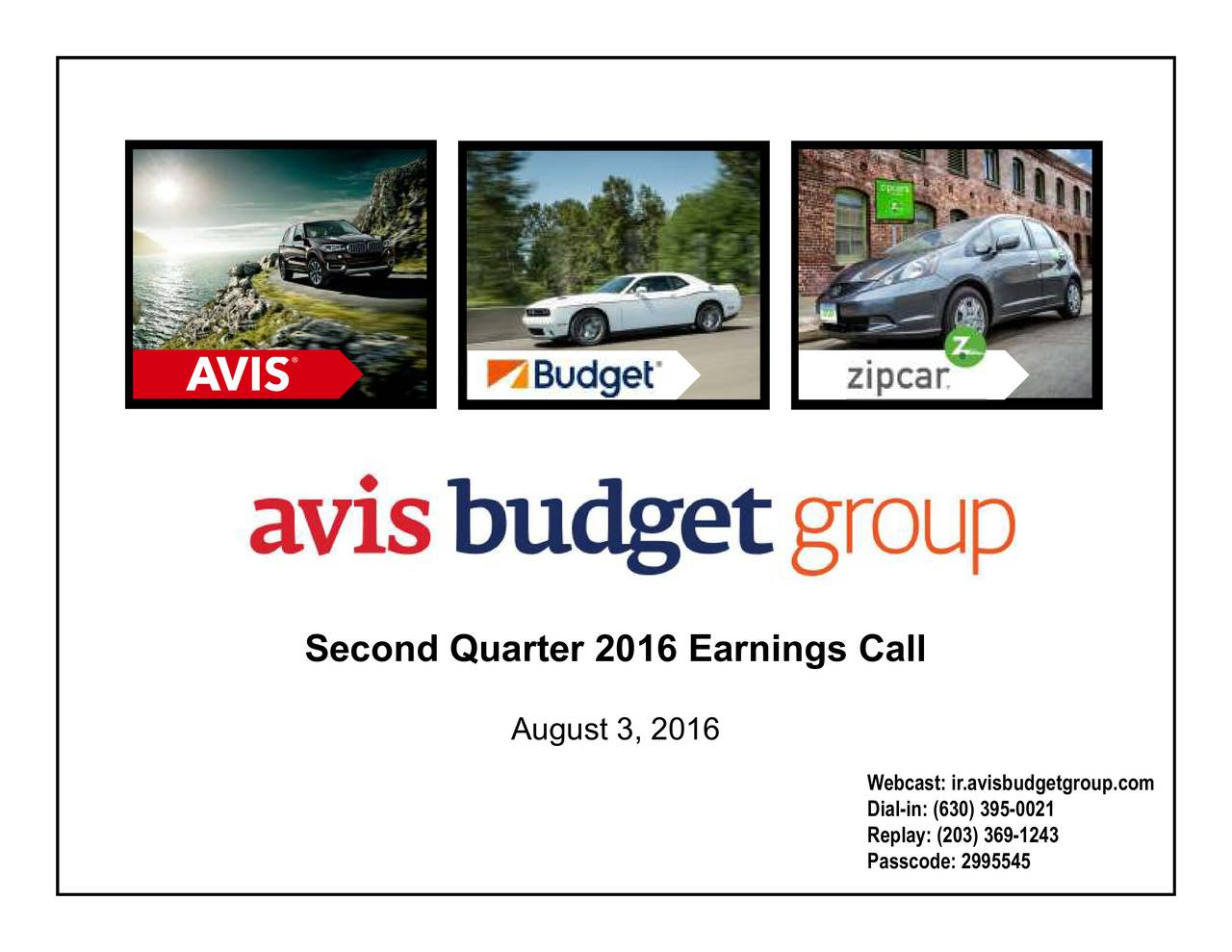 August 3, 2016 Second Quarter 2016 Earnings Call