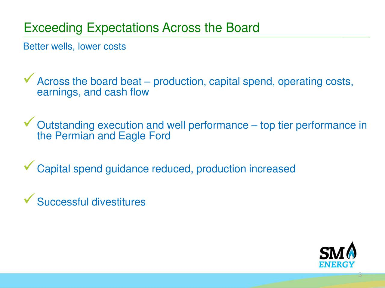 Better wells, lower costs Across the board beat  production, capital spend, operating costs, earnings, and cash flow Outstanding execution and well performance  top tier performance in the Permian and Eagle Ford Capital spend guidance reduced, production increased Successful divestitures 3