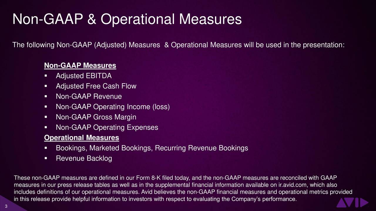 The following Non-GAAP (Adjusted) Measures & Operational Measures will be used in the presentation: Non-GAAP Measures Adjusted EBITDA Adjusted Free Cash Flow Non-GAAP Revenue Non-GAAP Operating Income (loss) Non-GAAP Gross Margin Non-GAAP Operating Expenses Operational Measures Bookings, Marketed Bookings, Recurring Revenue Bookings Revenue Backlog These non-GAAP measures are defined in our Form 8-K filed today, and the non-GAAP measures are reconciled with GAAP measures in our press release tables as well as in the supplemental financial information available on ir.avid.com, which also includes definitions of our operational measures. Avid believes the non-GAAP financial measures and operational metrics provided in this release provide helpful information to investors with respect to evaluating the Companys performance.