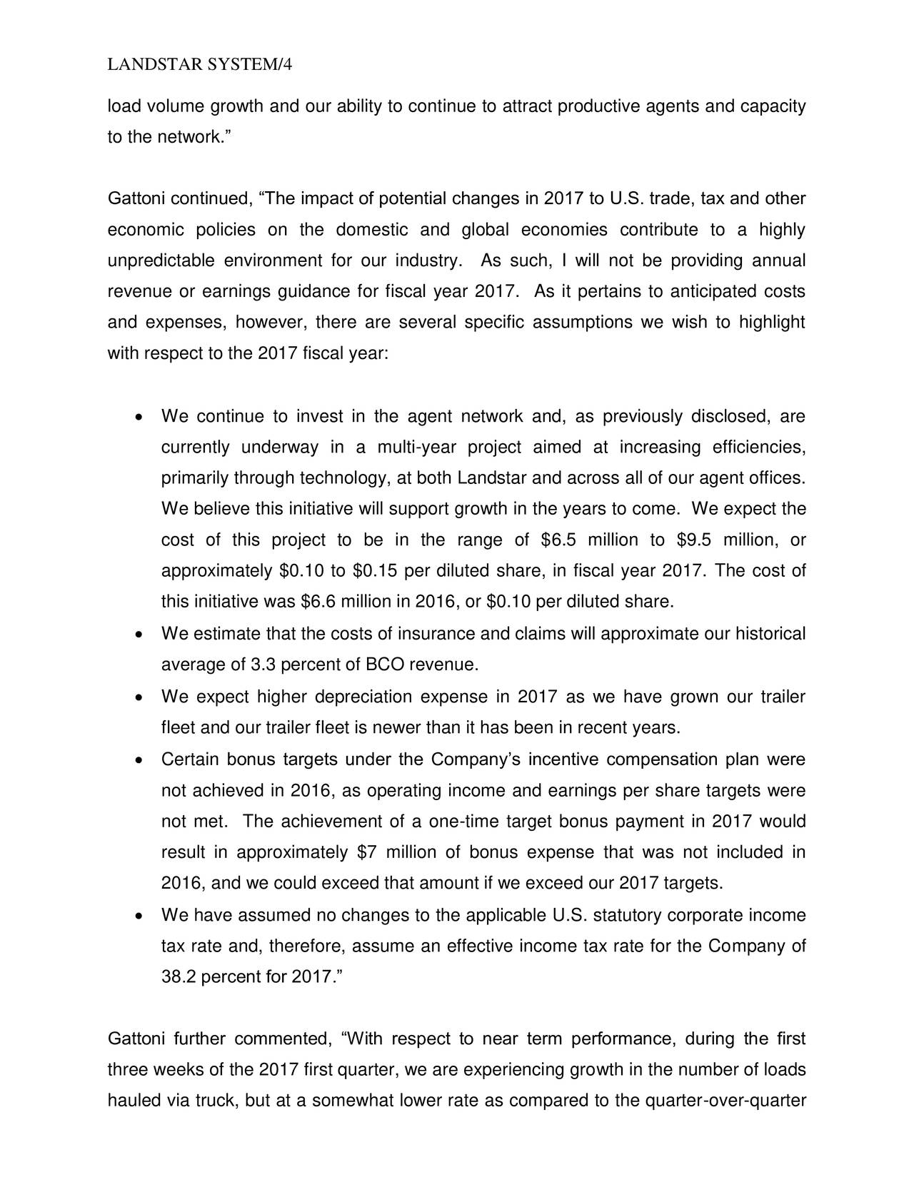Landstar System, Inc. 2016 Q4 - Results